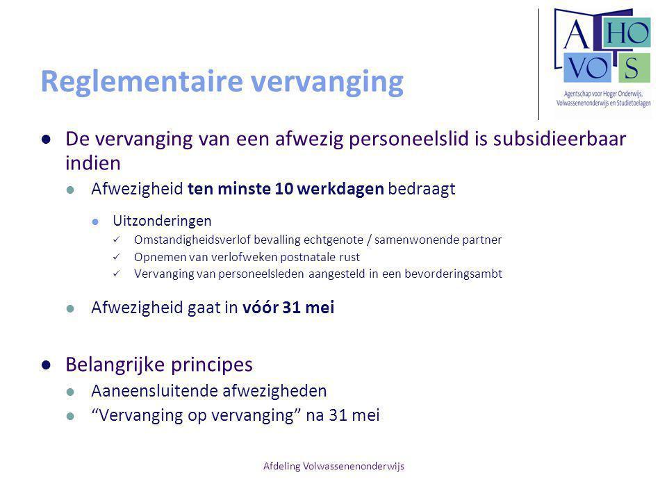 Afdeling Volwassenenonderwijs TBSPA Administratieve stand Een TBSPA is niet gelijkgeschakeld met dienstactiviteit