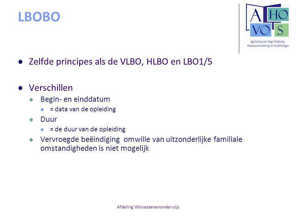 Afdeling Volwassenenonderwijs LBOBO Zelfde principes als de VLBO, HLBO en LBO1/5 Verschillen Begin- en einddatum = data van de opleiding Duur = de duur van de opleiding Vervroegde beëindiging omwille van uitzonderlijke familiale omstandigheden is niet mogelijk