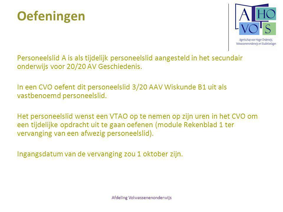 Afdeling Volwassenenonderwijs Oefeningen Een voltijds vast benoemd lector neemt een halftijds ouderschapsverlof van 5 november 2012 tot en met 4 maart 2013.