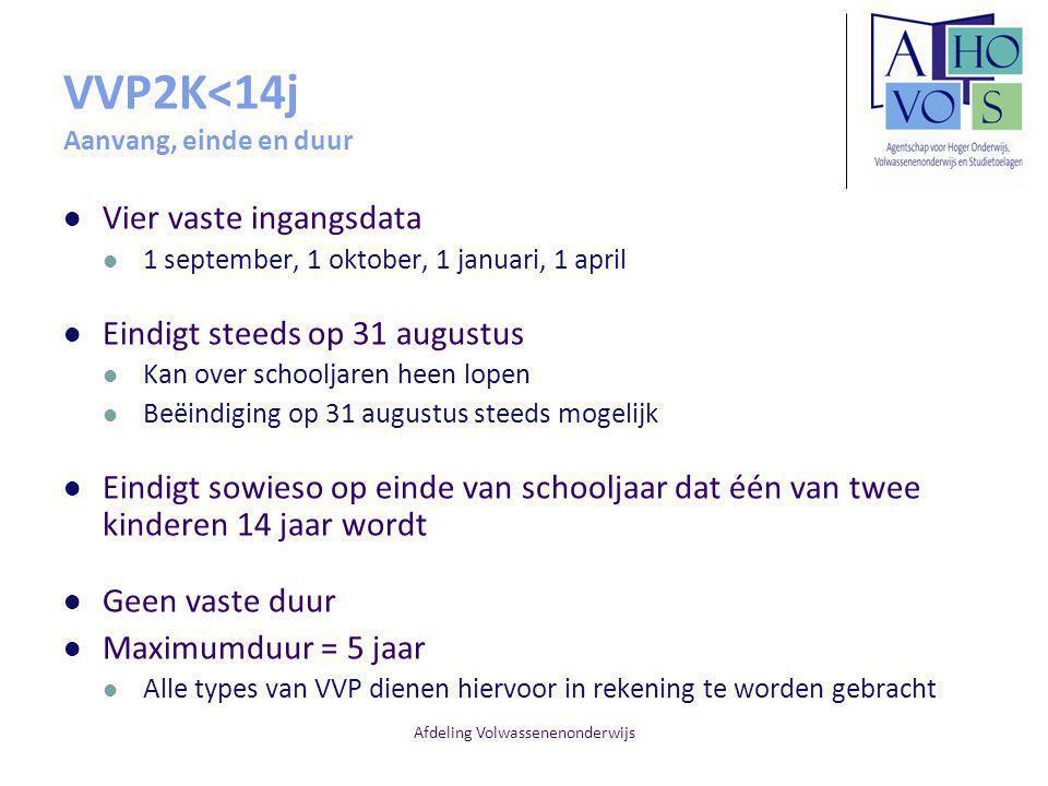 Afdeling Volwassenenonderwijs VVP2K<14j Aanvang, einde en duur Vier vaste ingangsdata 1 september, 1 oktober, 1 januari, 1 april Eindigt steeds op 31