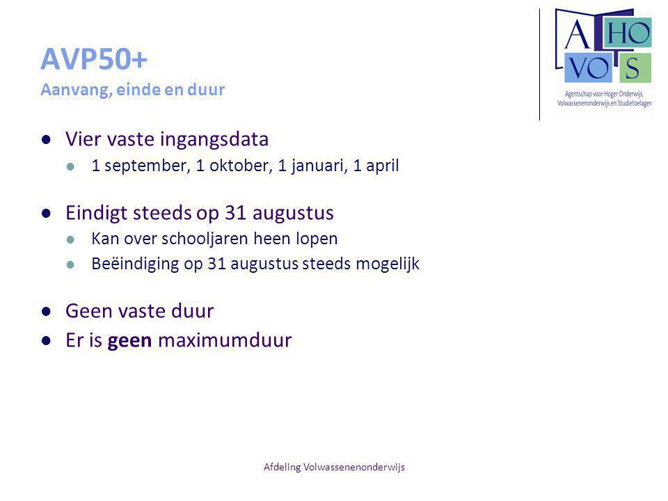 Afdeling Volwassenenonderwijs AVP50+ Aanvang, einde en duur Vier vaste ingangsdata 1 september, 1 oktober, 1 januari, 1 april Eindigt steeds op 31 aug