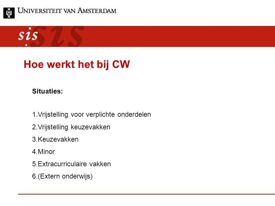 Hoe werkt het bij CW Situaties: 1.Vrijstelling voor verplichte onderdelen 2.Vrijstelling keuzevakken 3.Keuzevakken 4.Minor 5.Extracurriculaire vakken 6.(Extern onderwijs)