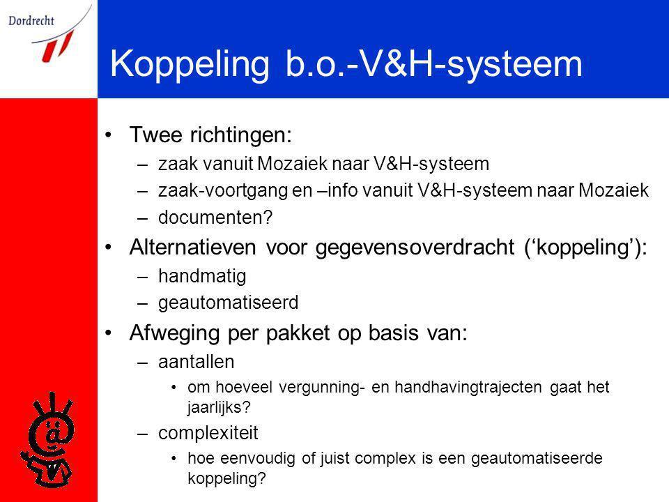 Koppeling b.o.-V&H-systeem Twee richtingen: –zaak vanuit Mozaiek naar V&H-systeem –zaak-voortgang en –info vanuit V&H-systeem naar Mozaiek –documenten.