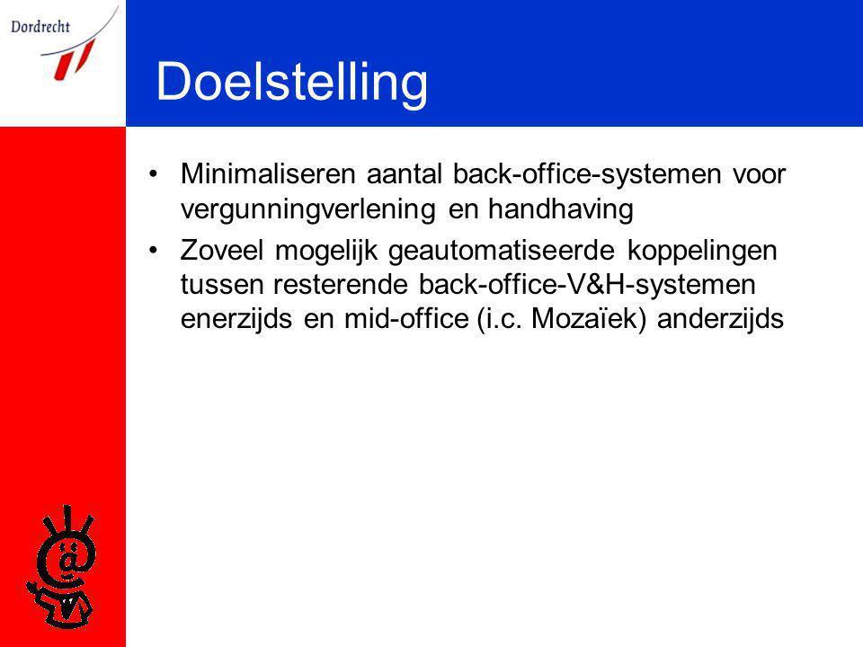 Doelstelling Minimaliseren aantal back-office-systemen voor vergunningverlening en handhaving Zoveel mogelijk geautomatiseerde koppelingen tussen resterende back-office-V&H-systemen enerzijds en mid-office (i.c.