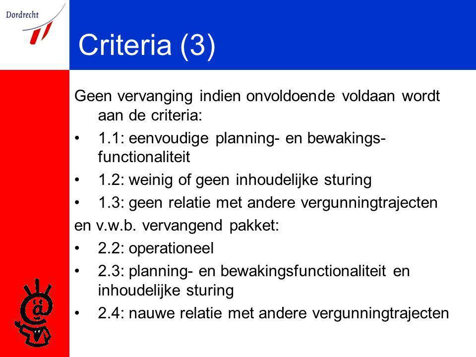 Criteria (3) Geen vervanging indien onvoldoende voldaan wordt aan de criteria: 1.1: eenvoudige planning- en bewakings- functionaliteit 1.2: weinig of geen inhoudelijke sturing 1.3: geen relatie met andere vergunningtrajecten en v.w.b.