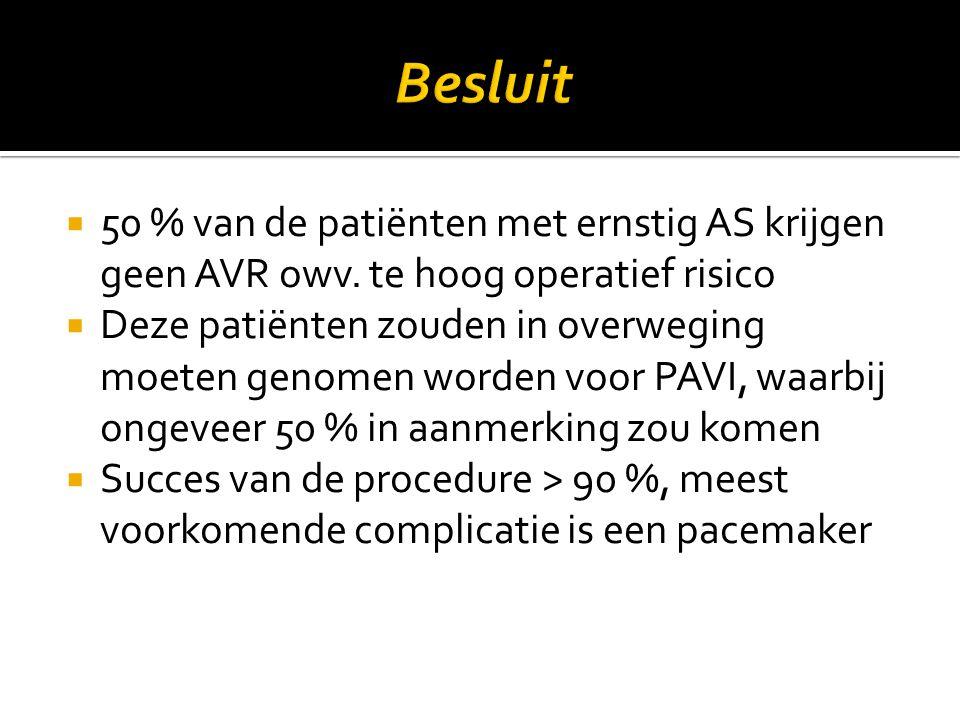  50 % van de patiënten met ernstig AS krijgen geen AVR owv. te hoog operatief risico  Deze patiënten zouden in overweging moeten genomen worden voor
