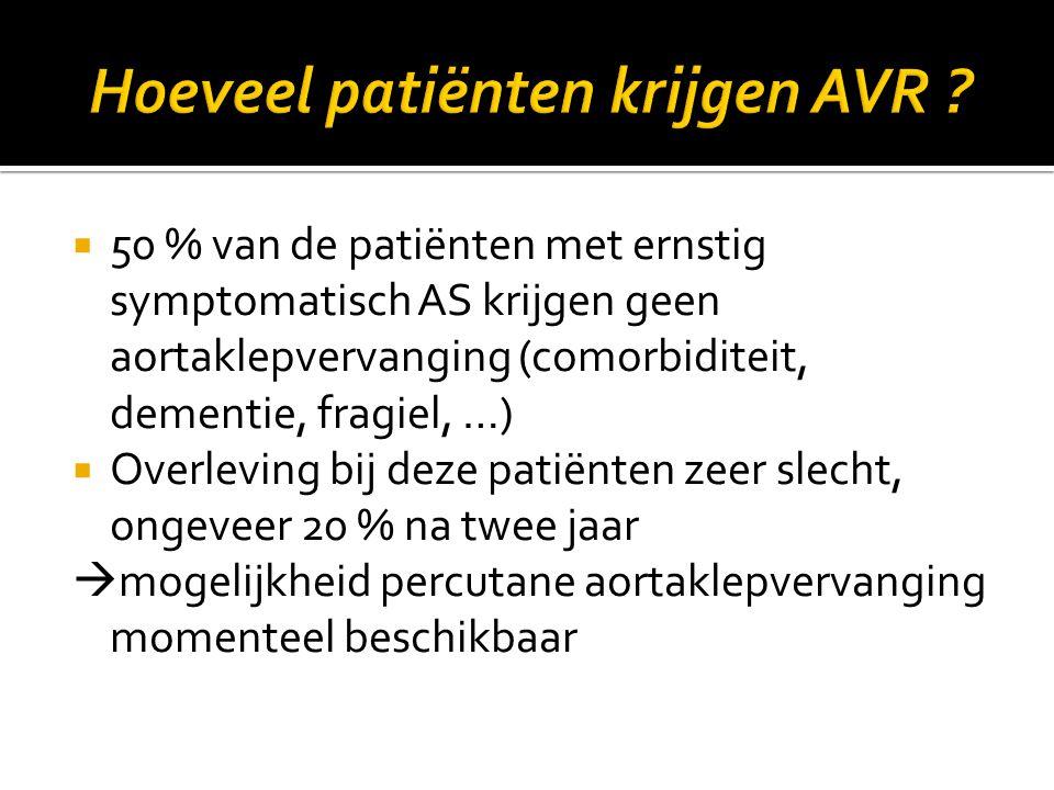  50 % van de patiënten met ernstig symptomatisch AS krijgen geen aortaklepvervanging (comorbiditeit, dementie, fragiel, …)  Overleving bij deze pati
