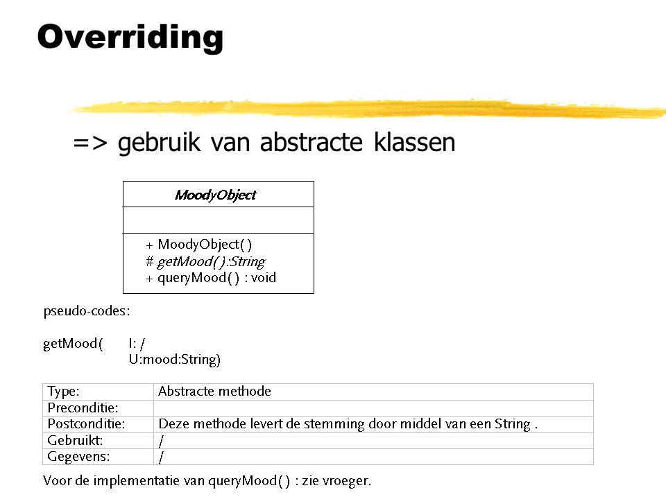 Overriding => gebruik van abstracte klassen