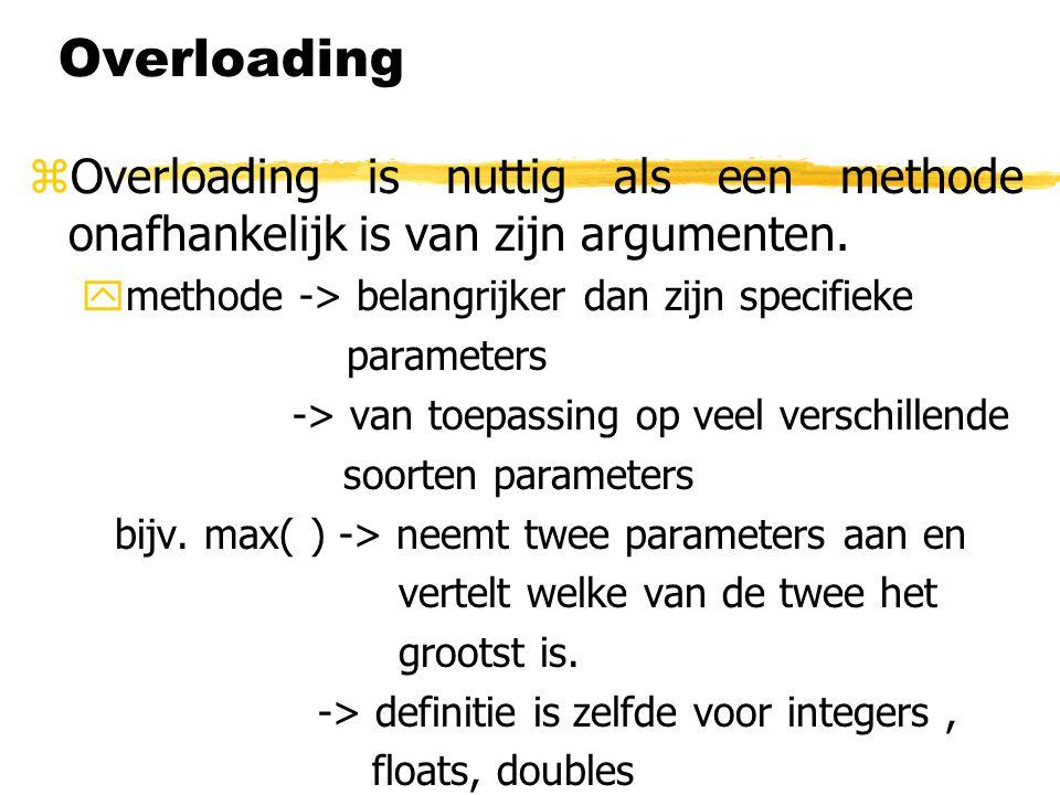 Overloading zOverloading is nuttig als een methode onafhankelijk is van zijn argumenten. ymethode -> belangrijker dan zijn specifieke parameters -> va