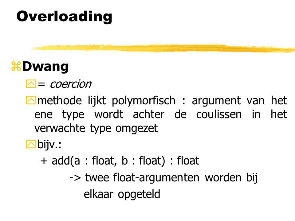 Overloading zDwang y= coercion ymethode lijkt polymorfisch : argument van het ene type wordt achter de coulissen in het verwachte type omgezet ybijv.: