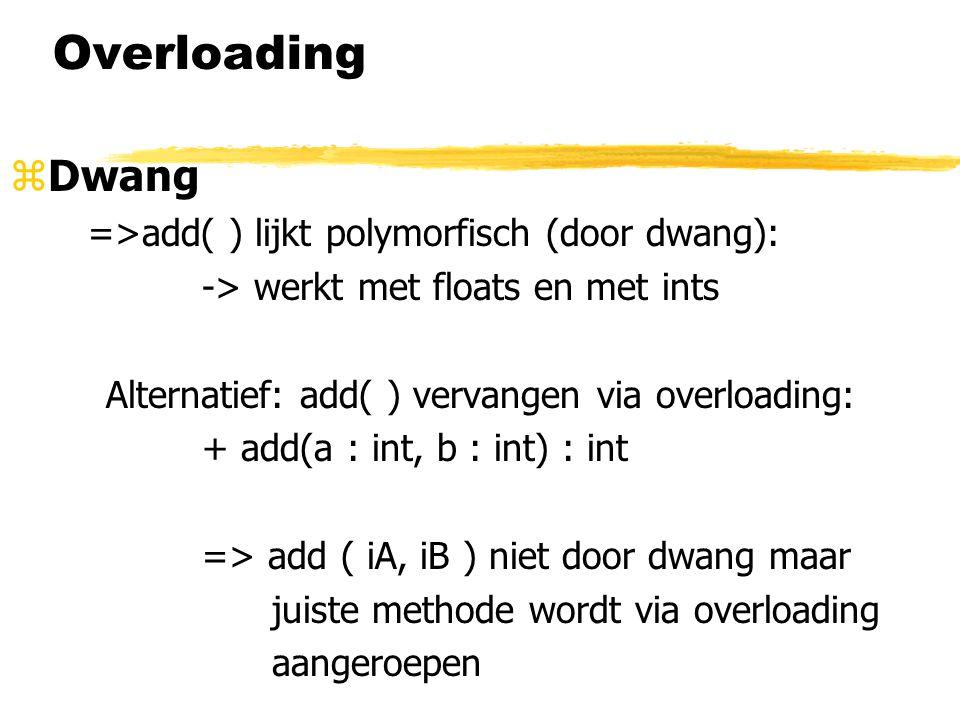 Overloading zDwang =>add( ) lijkt polymorfisch (door dwang): -> werkt met floats en met ints Alternatief: add( ) vervangen via overloading: + add(a :