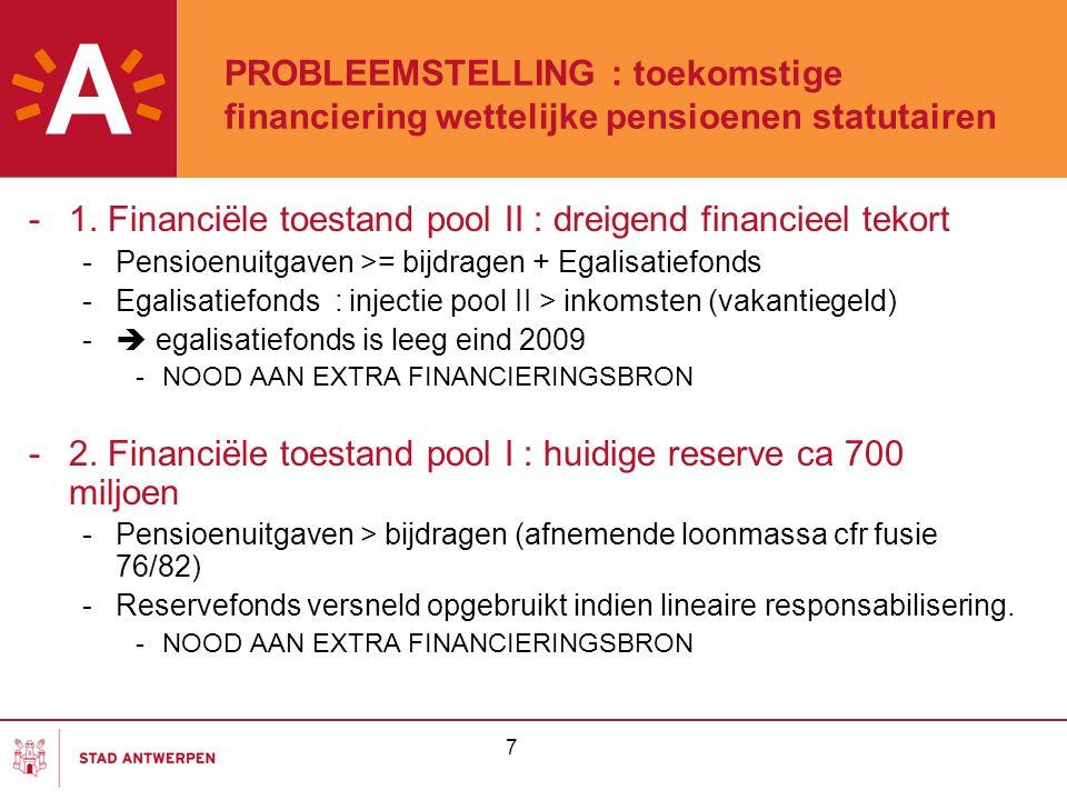 7 PROBLEEMSTELLING : toekomstige financiering wettelijke pensioenen statutairen -1. Financiële toestand pool II : dreigend financieel tekort -Pensioen