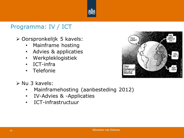 Ministerie van Defensie 16  Oorspronkelijk 5 kavels: Mainframe hosting Advies & applicaties Werkpleklogistiek ICT-infra Telefonie  Nu 3 kavels: Main