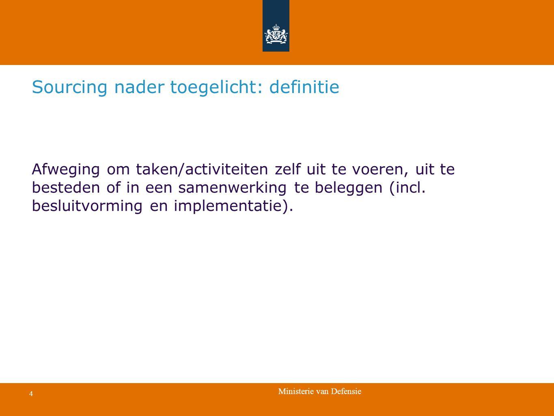 Ministerie van Defensie 4 Afweging om taken/activiteiten zelf uit te voeren, uit te besteden of in een samenwerking te beleggen (incl. besluitvorming