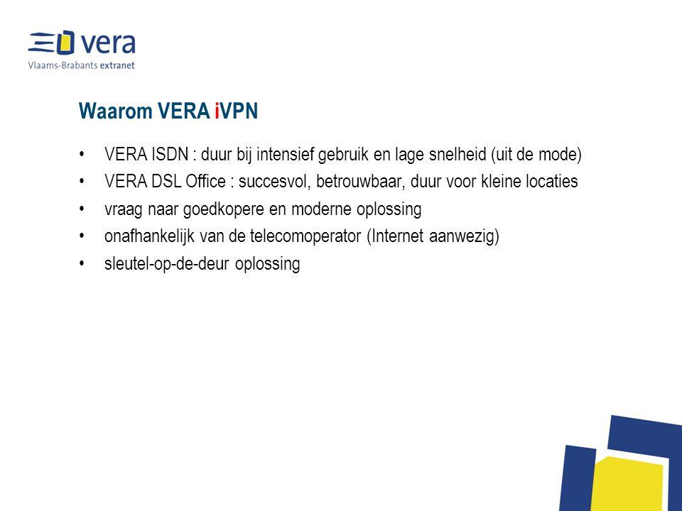 Waarom VERA iVPN VERA ISDN : duur bij intensief gebruik en lage snelheid (uit de mode) VERA DSL Office : succesvol, betrouwbaar, duur voor kleine locaties vraag naar goedkopere en moderne oplossing onafhankelijk van de telecomoperator (Internet aanwezig) sleutel-op-de-deur oplossing