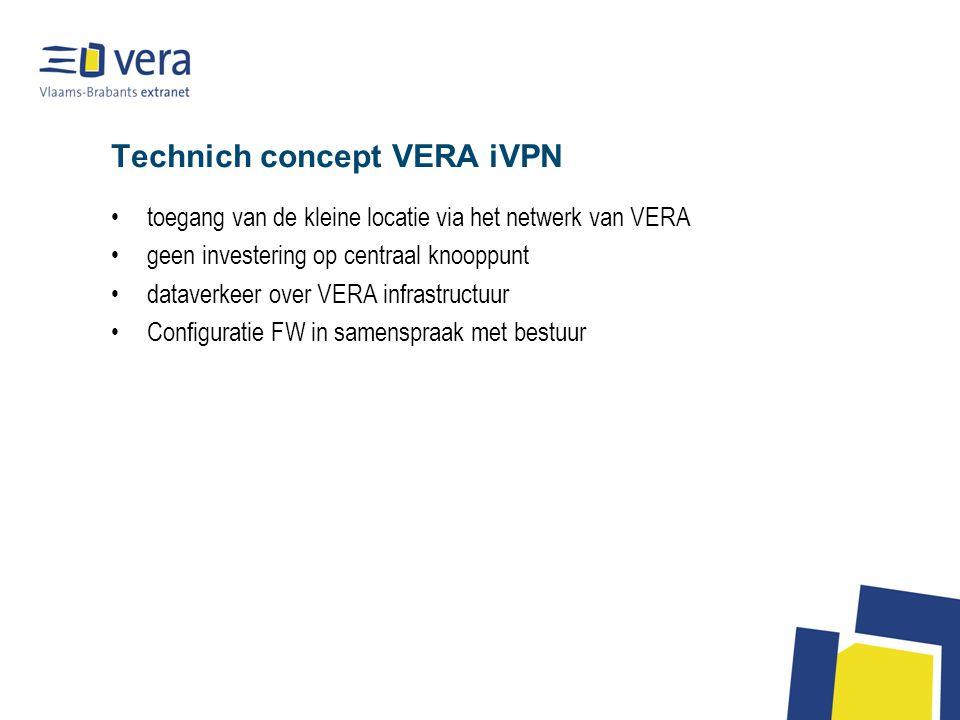 Technich concept VERA iVPN toegang van de kleine locatie via het netwerk van VERA geen investering op centraal knooppunt dataverkeer over VERA infrastructuur Configuratie FW in samenspraak met bestuur