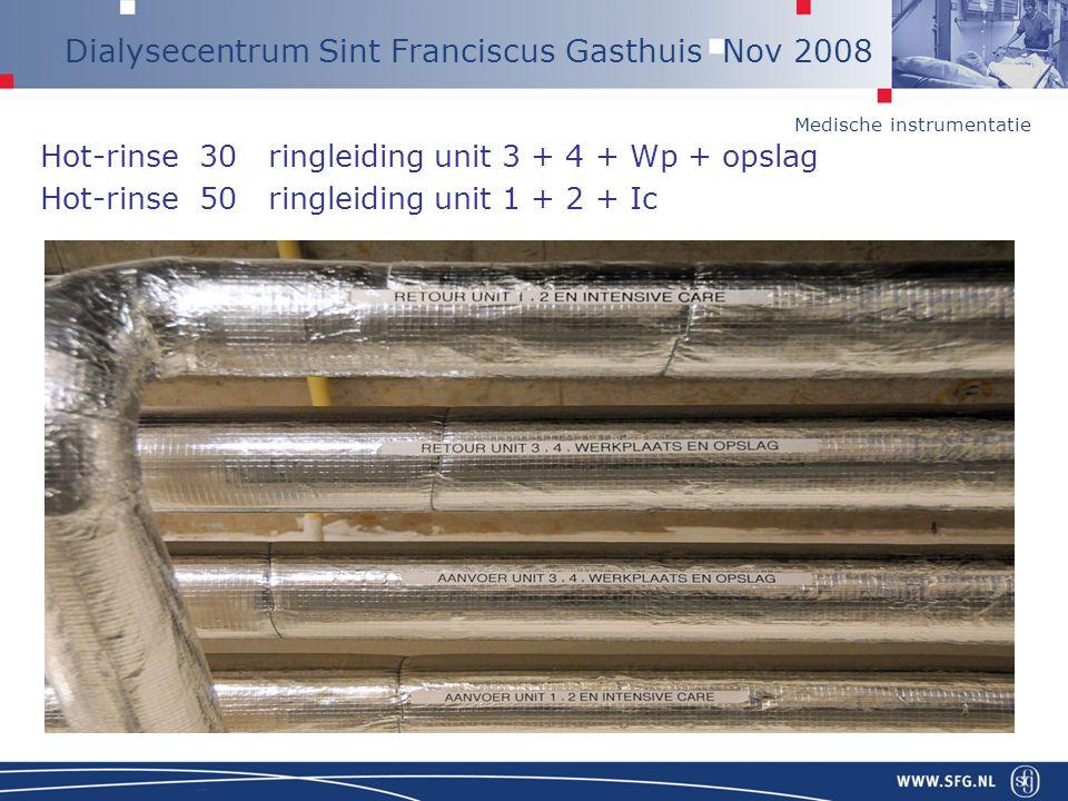 Medische instrumentatie Dialysecentrum Sint Franciscus Gasthuis Nov 2008 Hot-rinse 30 ringleiding unit 3 + 4 + Wp + opslag Hot-rinse 50 ringleiding un