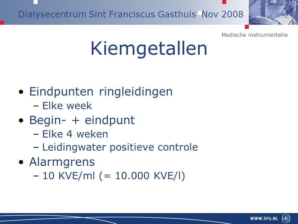 Medische instrumentatie Dialysecentrum Sint Franciscus Gasthuis Nov 2008 Kiemgetallen Eindpunten ringleidingen –Elke week Begin- + eindpunt –Elke 4 we