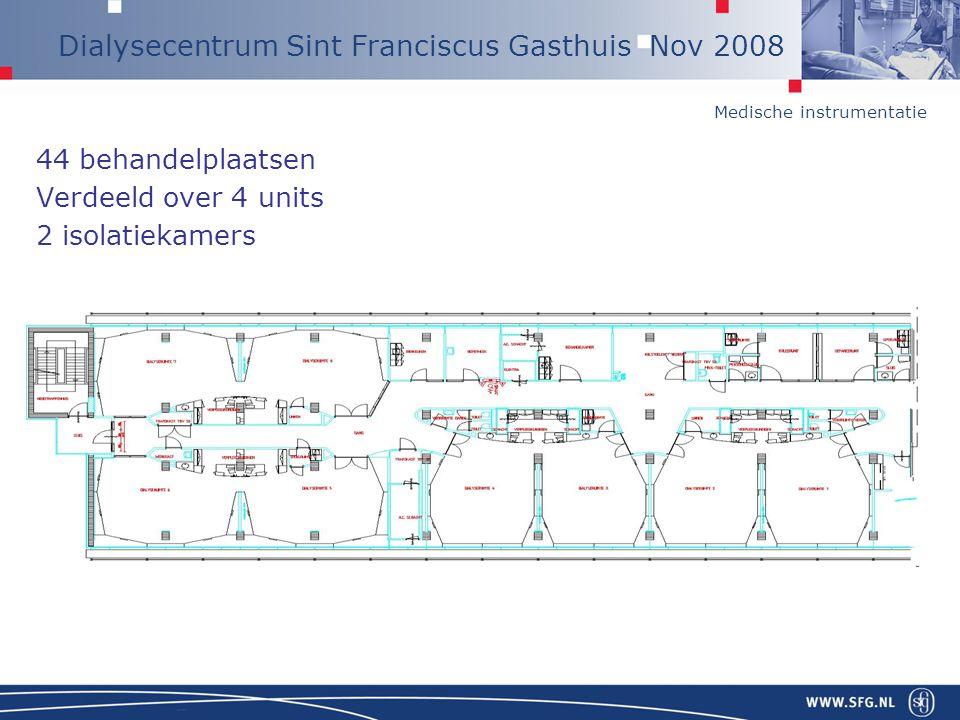 Medische instrumentatie Dialysecentrum Sint Franciscus Gasthuis Nov 2008 44 behandelplaatsen Verdeeld over 4 units 2 isolatiekamers