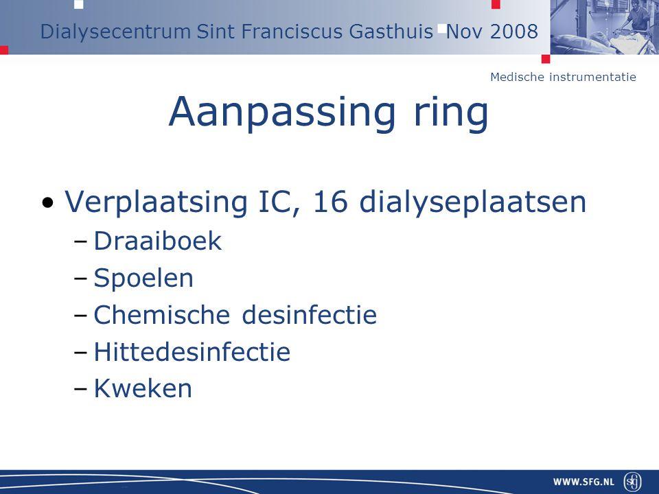 Medische instrumentatie Dialysecentrum Sint Franciscus Gasthuis Nov 2008 Aanpassing ring Verplaatsing IC, 16 dialyseplaatsen –Draaiboek –Spoelen –Chem