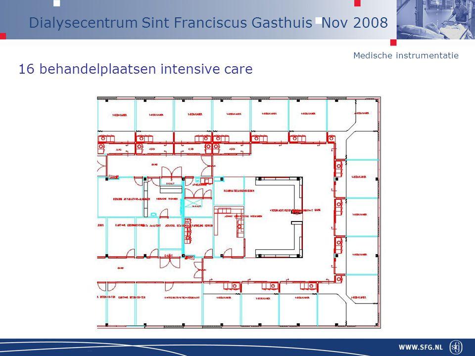 Medische instrumentatie Dialysecentrum Sint Franciscus Gasthuis Nov 2008 Desinfectie 2002 Oplevering –6 maal per week (Lauer) 2007 Nachtdialyse –4 maal per week –Zo, di, do, za –Geleidelijke afbouw, verhoogde kweekfrequentie