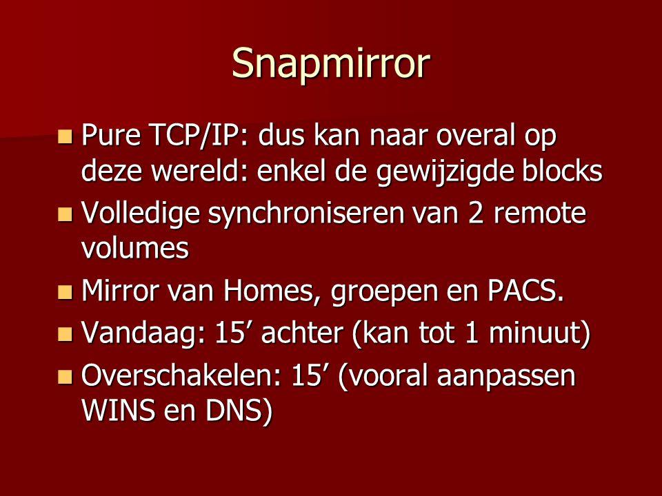 Snapmirror Pure TCP/IP: dus kan naar overal op deze wereld: enkel de gewijzigde blocks Pure TCP/IP: dus kan naar overal op deze wereld: enkel de gewijzigde blocks Volledige synchroniseren van 2 remote volumes Volledige synchroniseren van 2 remote volumes Mirror van Homes, groepen en PACS.