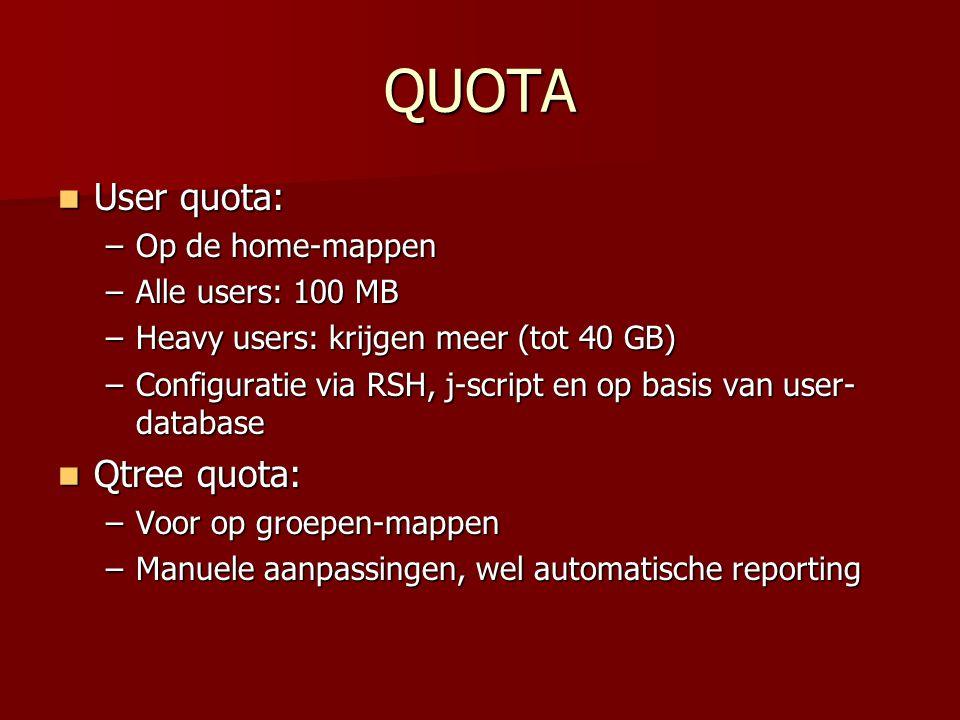 QUOTA User quota: User quota: –Op de home-mappen –Alle users: 100 MB –Heavy users: krijgen meer (tot 40 GB) –Configuratie via RSH, j-script en op basis van user- database Qtree quota: Qtree quota: –Voor op groepen-mappen –Manuele aanpassingen, wel automatische reporting
