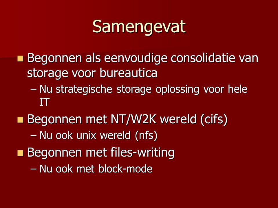 Samengevat Begonnen als eenvoudige consolidatie van storage voor bureautica Begonnen als eenvoudige consolidatie van storage voor bureautica –Nu strategische storage oplossing voor hele IT Begonnen met NT/W2K wereld (cifs) Begonnen met NT/W2K wereld (cifs) –Nu ook unix wereld (nfs) Begonnen met files-writing Begonnen met files-writing –Nu ook met block-mode