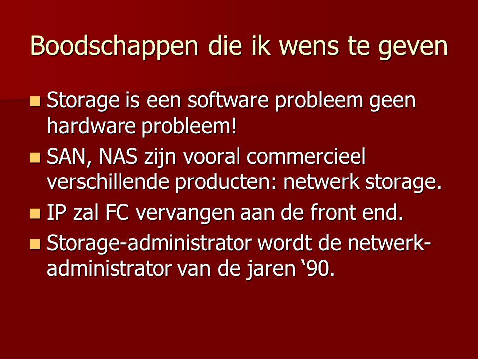 Boodschappen die ik wens te geven Storage is een software probleem geen hardware probleem.