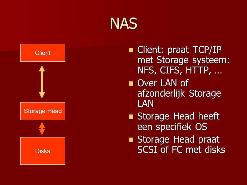 NAS Client: praat TCP/IP met Storage systeem: NFS, CIFS, HTTP, … Client: praat TCP/IP met Storage systeem: NFS, CIFS, HTTP, … Over LAN of afzonderlijk Storage LAN Over LAN of afzonderlijk Storage LAN Storage Head heeft een specifiek OS Storage Head heeft een specifiek OS Storage Head praat SCSI of FC met disks Storage Head praat SCSI of FC met disks Client Storage Head Disks