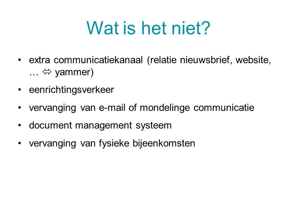 Wat is het niet? extra communicatiekanaal (relatie nieuwsbrief, website, …  yammer) eenrichtingsverkeer vervanging van e-mail of mondelinge communica