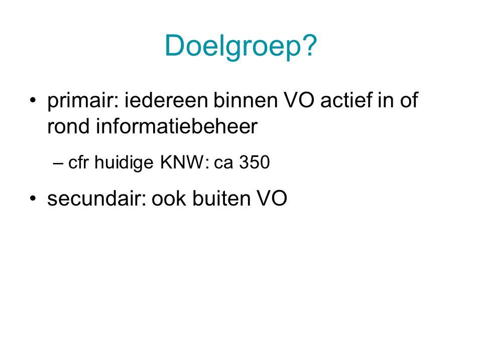 Doelgroep? primair: iedereen binnen VO actief in of rond informatiebeheer –cfr huidige KNW: ca 350 secundair: ook buiten VO 15 juli 20144