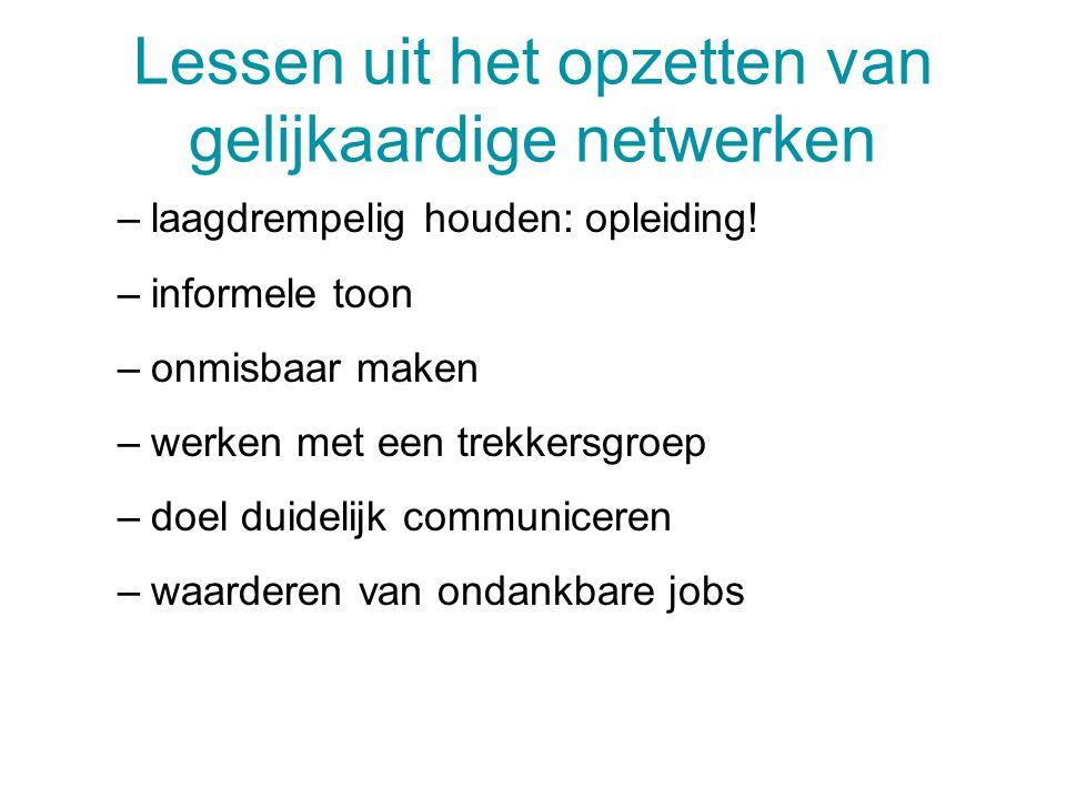 Lessen uit het opzetten van gelijkaardige netwerken –laagdrempelig houden: opleiding! –informele toon –onmisbaar maken –werken met een trekkersgroep –