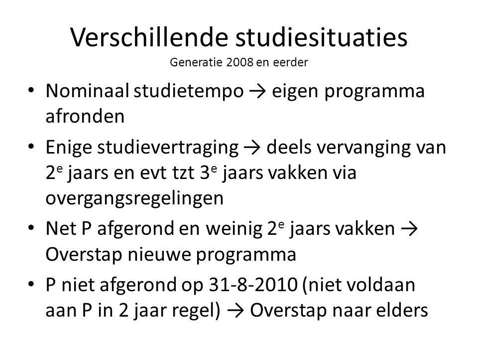 Verschillende studiesituaties Generatie 2008 en eerder Nominaal studietempo → eigen programma afronden Enige studievertraging → deels vervanging van 2