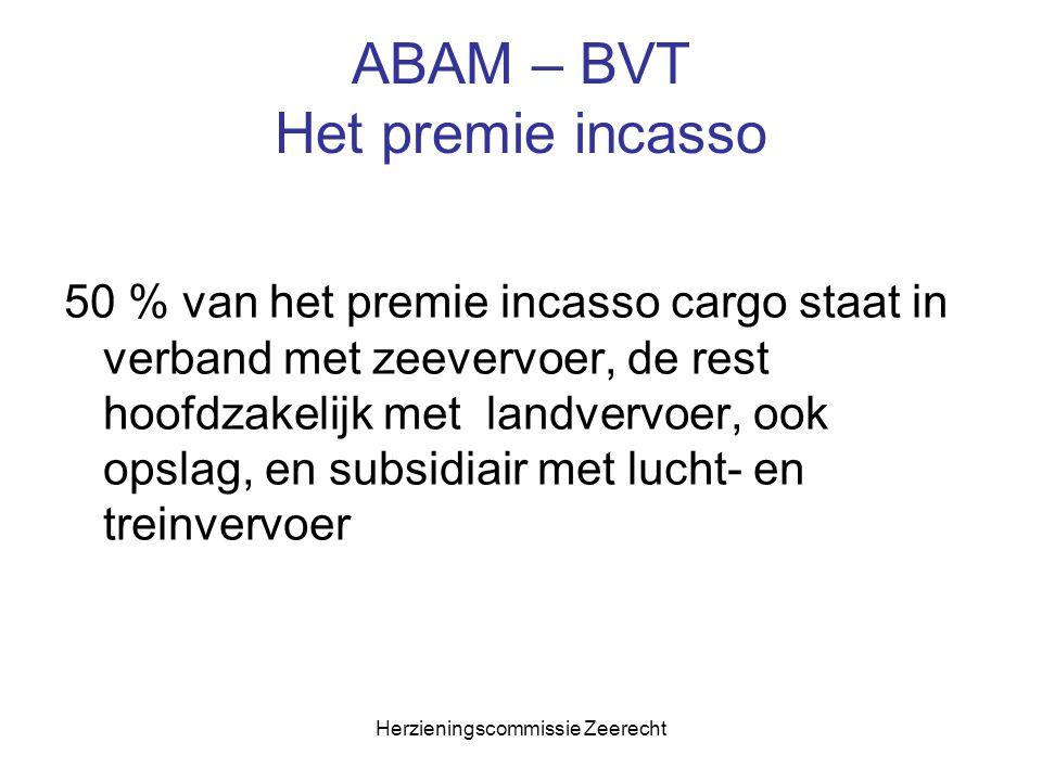Herzieningscommissie Zeerecht ABAM – BVT Het premie incasso 50 % van het premie incasso cargo staat in verband met zeevervoer, de rest hoofdzakelijk m