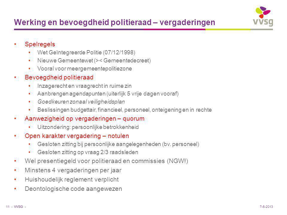 VVSG - Werking en bevoegdheid politieraad – vergaderingen Spelregels Wet Geïntegreerde Politie (07/12/1998) Nieuwe Gemeentewet (>< Gemeentedecreet) Vo