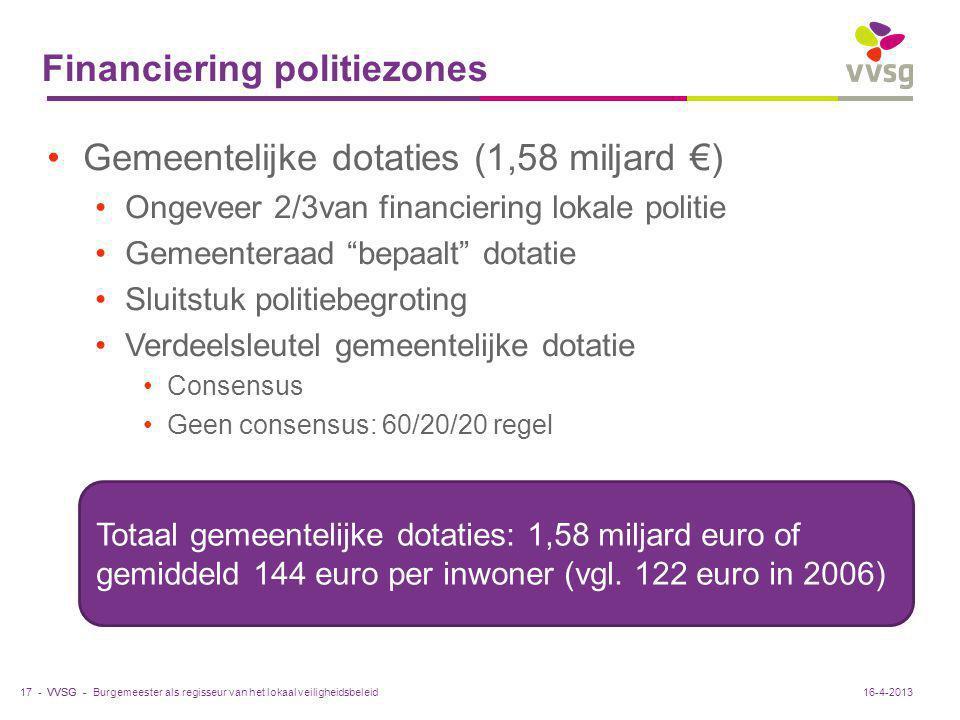 """VVSG - Financiering politiezones Gemeentelijke dotaties (1,58 miljard €) Ongeveer 2/3van financiering lokale politie Gemeenteraad """"bepaalt"""" dotatie Sl"""
