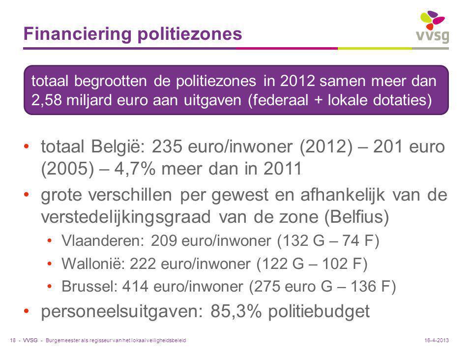 VVSG - Financiering politiezones totaal België: 235 euro/inwoner (2012) – 201 euro (2005) – 4,7% meer dan in 2011 grote verschillen per gewest en afha