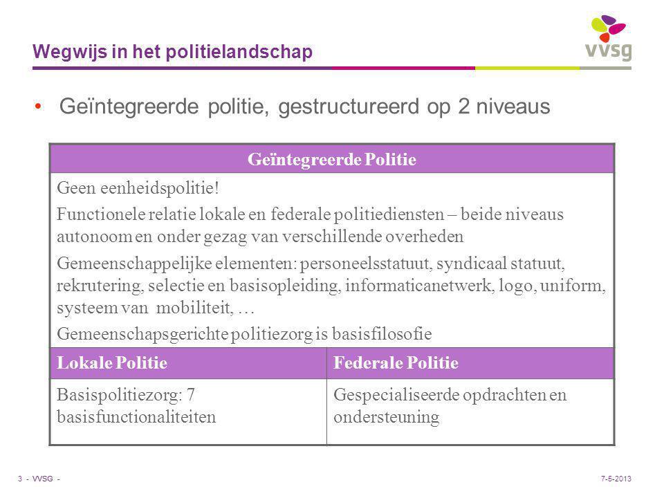 VVSG - Wegwijs in het politielandschap Geïntegreerde politie, gestructureerd op 2 niveaus 3 - Geïntegreerde Politie Geen eenheidspolitie! Functionele