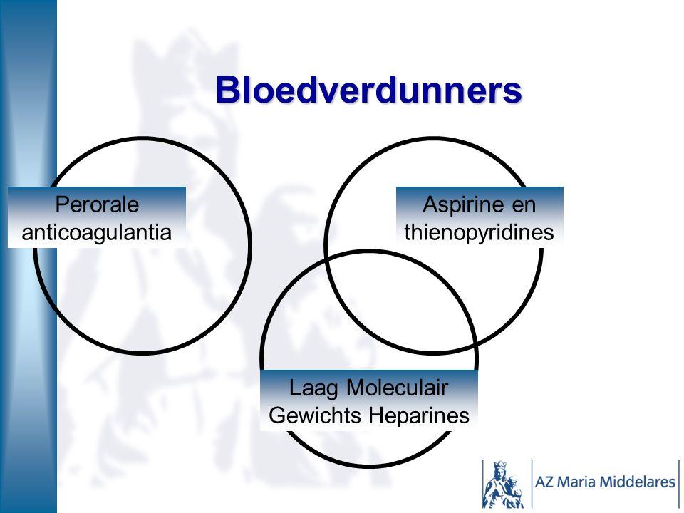 Bloedverdunners Aspirine en thienopyridines Perorale anticoagulantia Laag Moleculair Gewichts Heparines