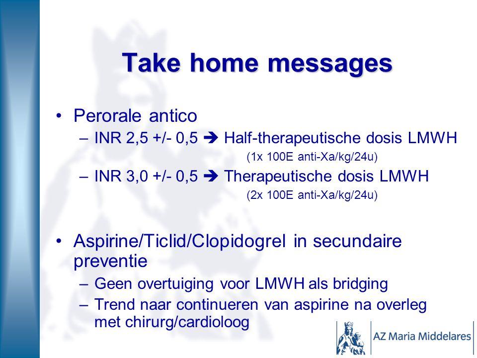 Take home messages Perorale antico –INR 2,5 +/- 0,5  Half-therapeutische dosis LMWH (1x 100E anti-Xa/kg/24u) –INR 3,0 +/- 0,5  Therapeutische dosis