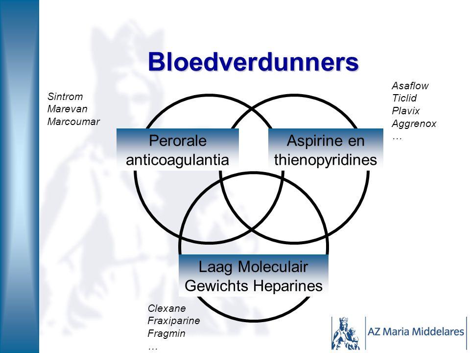 Bloedverdunners Aspirine en thienopyridines Perorale anticoagulantia Laag Moleculair Gewichts Heparines Sintrom Marevan Marcoumar Asaflow Ticlid Plavi