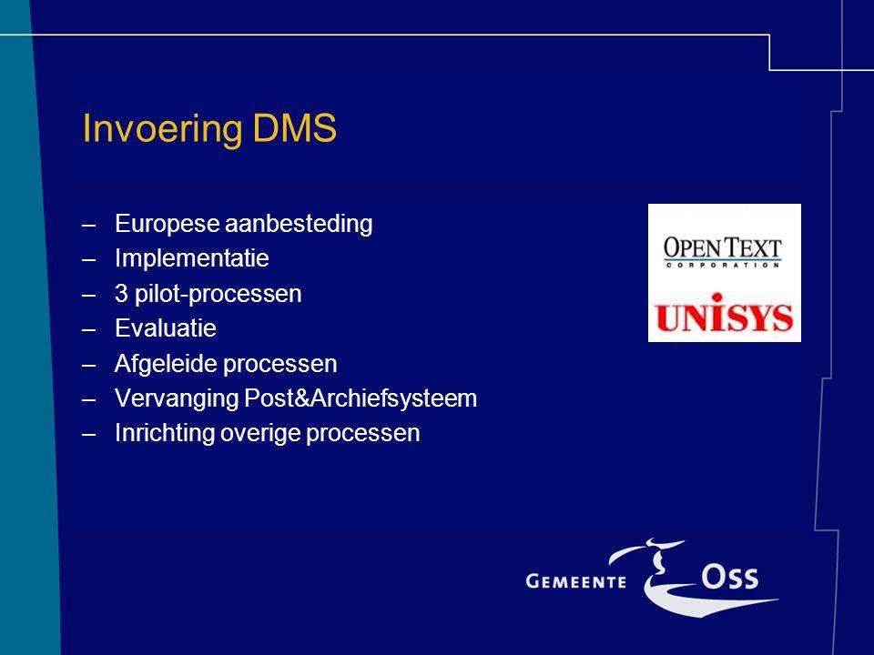 Invoering DMS –Europese aanbesteding –Implementatie –3 pilot-processen –Evaluatie –Afgeleide processen –Vervanging Post&Archiefsysteem –Inrichting ove