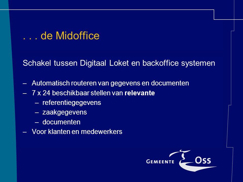 ... de Midoffice Schakel tussen Digitaal Loket en backoffice systemen –Automatisch routeren van gegevens en documenten –7 x 24 beschikbaar stellen van