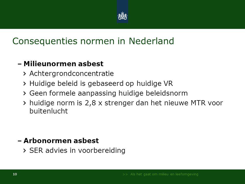 >> Als het gaat om milieu en leefomgeving 10 Consequenties normen in Nederland Milieunormen asbest Achtergrondconcentratie Huidige beleid is gebaseerd