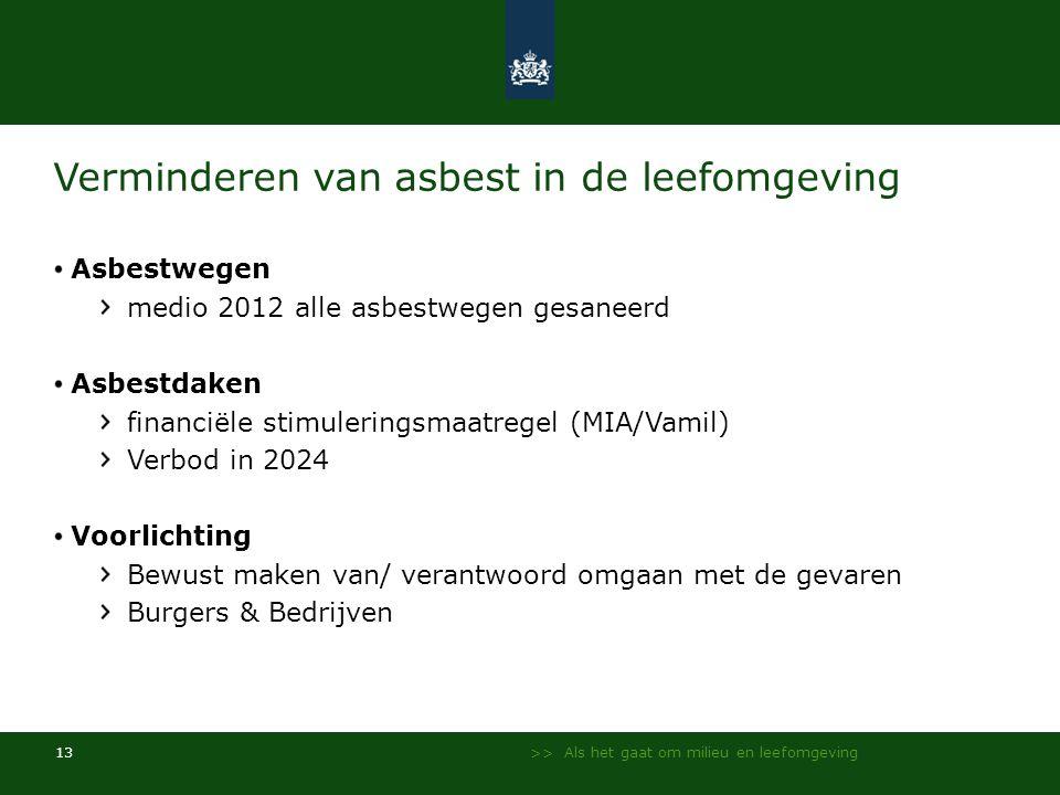 >> Als het gaat om milieu en leefomgeving 13 Verminderen van asbest in de leefomgeving Asbestwegen medio 2012 alle asbestwegen gesaneerd Asbestdaken f