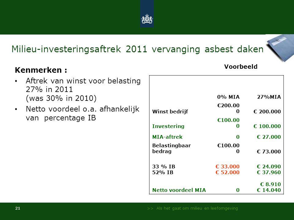 >> Als het gaat om milieu en leefomgeving 21 Milieu-investeringsaftrek 2011 vervanging asbest daken Kenmerken : Aftrek van winst voor belasting 27% in