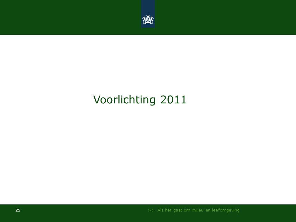 >> Als het gaat om milieu en leefomgeving 25 Voorlichting 2011