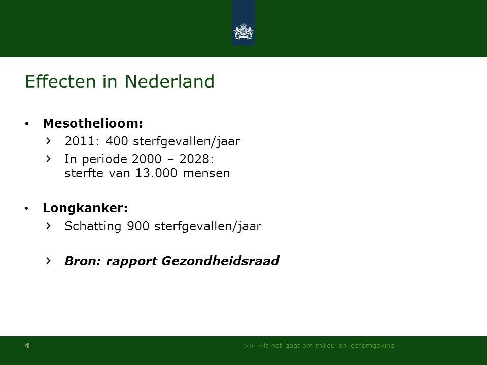 >> Als het gaat om milieu en leefomgeving 4 Effecten in Nederland Mesothelioom: 2011: 400 sterfgevallen/jaar In periode 2000 – 2028: sterfte van 13.00