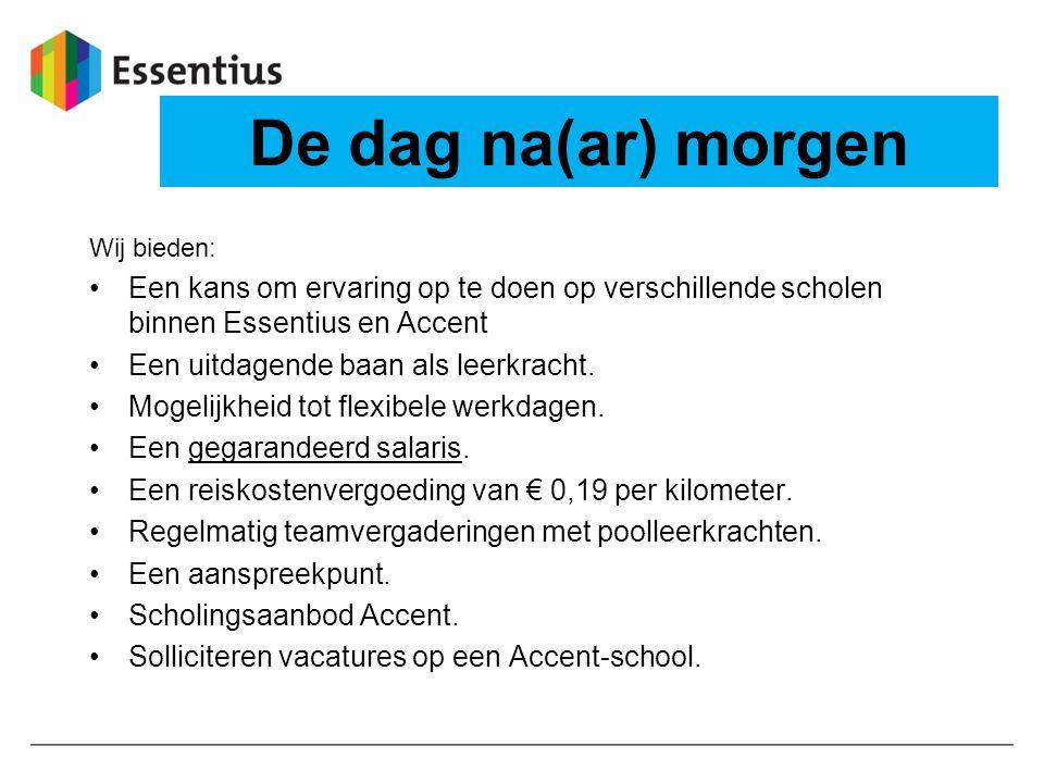 De dag na(ar) morgen Wij bieden: Een kans om ervaring op te doen op verschillende scholen binnen Essentius en Accent Een uitdagende baan als leerkrach